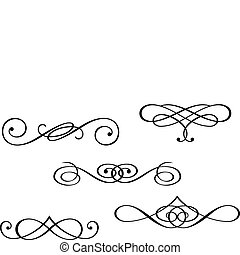 Design elements and monograms isolated on white