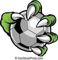 Monster animal claw holding Soccer Football Ball