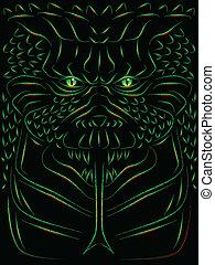 Sketch of a hideous reptillian monster or demon