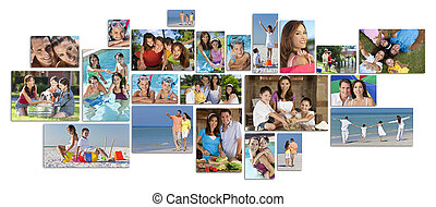Montage of happy family parents and two children boy and girl enjoying an active lifestyle on holiday vacation, at the beach, playing in the swimming pool and cooking at home