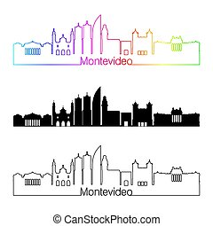 Montevideo skyline linear style with rainbow