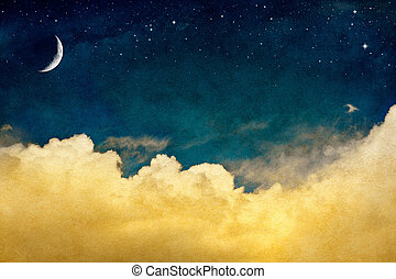 A fantasy cloudscape with stars and a crescent moon overlaid with a vintage, textured watercolor paper background.