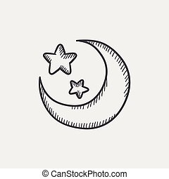 Moon and stars sketch icon set for web, mobile and infographics. Hand drawn vector isolated icon.