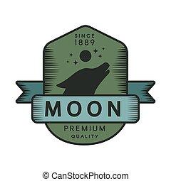 Moon color retro logo template