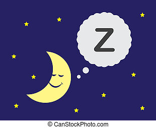 Moon cartoon with sleeping thought bubble