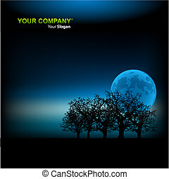 Moonlight background vector illustration template