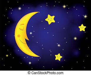 cartoon moonlit night with sleeping moon and smiling stars