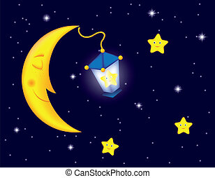 cartoon moonlit night with sleeping moon, star into the lamp and smiling stars