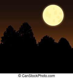 Silhouette of trees on a dark night with a full moon