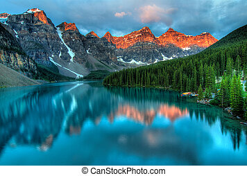 Taken at the peak of color during the morning sunrise at Moraine lake in Banff National park.