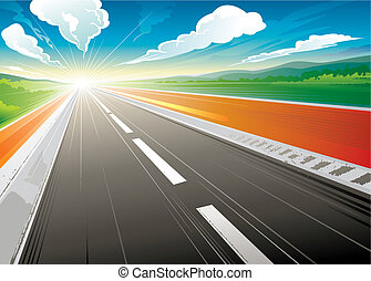 Road speed landscape in the morning. vector illustration layered.
