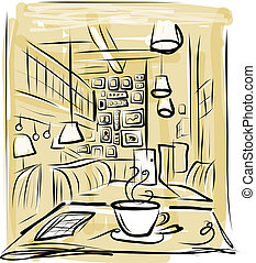 Cup of coffee on the table in cafe. This file is EPS10 vector and it includes transparency effects.
