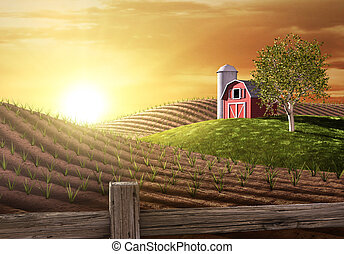Red barn and tractor on a farm with the sun rising over the horizon