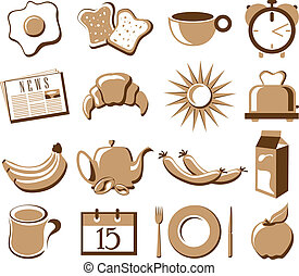 Morning symbol set with breakfast, newspaper, and morning items