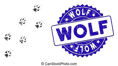 Mosaic Wolf Track Icon with Textured Wolf Seal