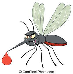Mosquito Cartoon Character Flying