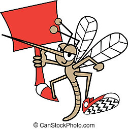 Cute, funny cartoon mosquito holding a sign and wearing tennis shoes.