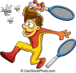 cartoon illustration of a man would hit mosquito with electric racket