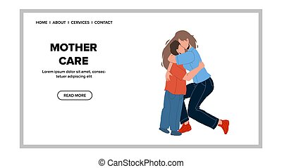Mother Care And Love Little Son, Parenthood Vector