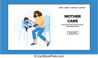 Mother Care Child And Feeding Breakfast Vector