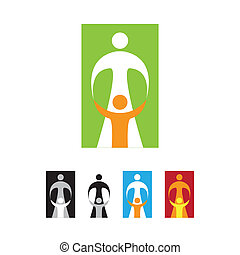 Sign of motherhood - mother and child. Vector template.