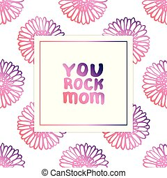 Mothers Day Card with Hand Lettering Text and Gerberas