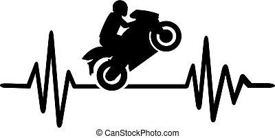 Motorbike heartbeat line