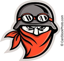 Motorcycle Club Outlaw Rider Wearing Bandanna Mascot