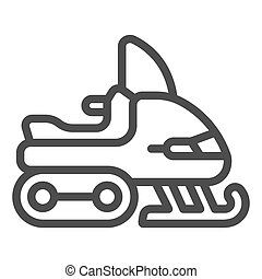 Motorcycle snowmobile line icon, Winter season concept, extreme winter transport sign on white background, snowmobile icon in outline style for mobile concept, web design. Vector graphics.