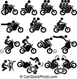 A set of pictograms representing people riding on motorcycle.
