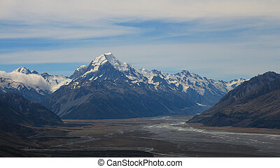 Mount Cook and other mountains of New Zealand in summer.