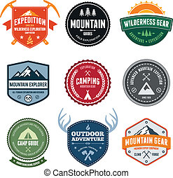 Set of mountain adventure and expedition badges
