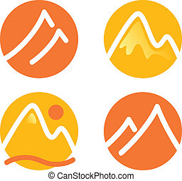 Hill in circles icons set. Vector