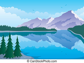 Illustrated landscape of mountain and lake. No transparency used. Basic (linear) gradients. A4 proportions.