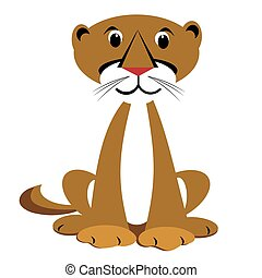 Sitting happy mountain lion animal clipart