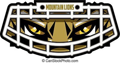 mountain lion football mascot face wearing facemask for school, college or league