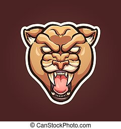 Mountain lion mascot. Vector clip art illustration with simple gradients. Lion, stroke and background on separate layers.