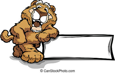 Mountain Lion or Cougar Smiling Mascot Leaning on a Sign Vector Illustration