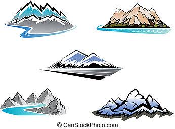 Set of mountain symbols for majestic design