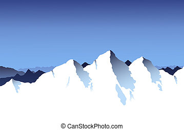 A snowy mountain range background with blue sky