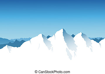 A snowy mountain range background with blue sky.