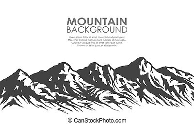 Mountain range silhouette isolated on white background. Black and white vector illustration with copy-space.