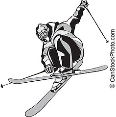 Black silhouette of the skier on a white background