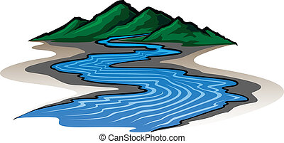 Illustration of a graphic style mountain range and running river.