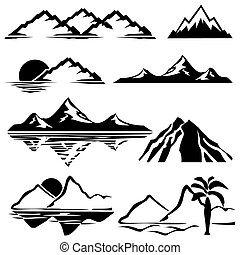 set of vector icons of silhouettes of the mountains