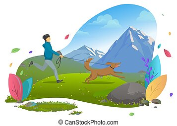 Mountains Landscape, Guy Running with Dog on Leash