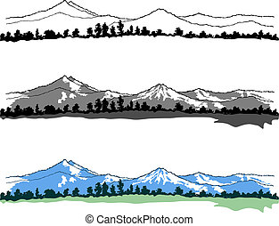 Mountains landscapes on white background