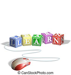 Mouse connected to alphabet letter blocks forming the word learn. Concept for e-learning.