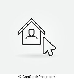 Mouse Click on House linear icon. Vector Work at Home sign
