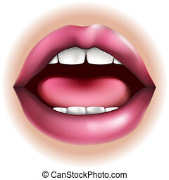 An illustration of a mouth nose body part, could represent taste in the five senses